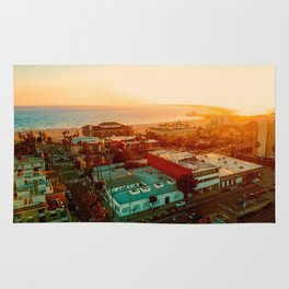 Santa Monica beach evening light Rug