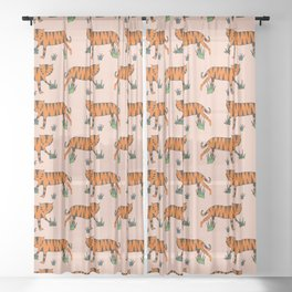 Tiger Pink Sheer Curtain