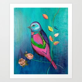 Colorful bird with roses Art Print