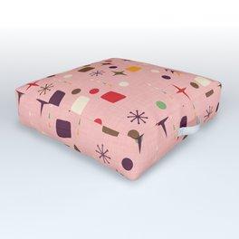 Atomic Pattern Pink Purple  #midcenturymodern Outdoor Floor Cushion