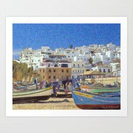 Albufeira fishing boats, Portugal Art Print