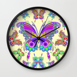 Butterfly Colorful Tattoo Style Pattern Wall Clock