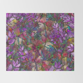 Floral Abstract Stained Glass G175 Throw Blanket