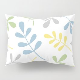 Assorted Leaf Silhouettes Blue Green Grey Yellow White Pillow Sham