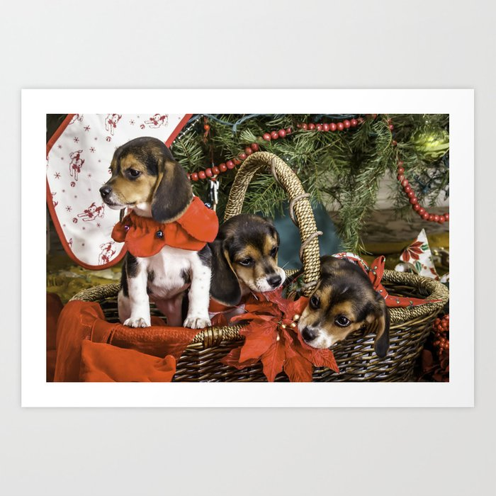 Naughty Beagle Puppies Nibbling on Christmas Decorations Art Print by wespeakpuppy | Society6