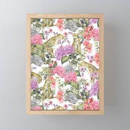 Leopards in flowery garden Framed Mini Art Print