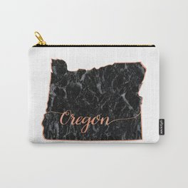 Oregon Rosegold Marble Map Outline Carry-All Pouch