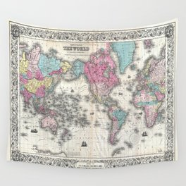 1852 J.H. Colton Map of the World Wall Tapestry