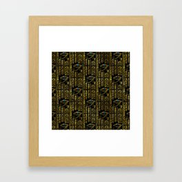 Eye of Horus and Egyptian hieroglyphs pattern Framed Art Print