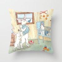 nursery Throw Pillows featuring Nursery by Bluedogrose
