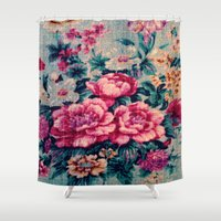 vintage floral Shower Curtains featuring Vintage Floral  by CLE.ArT.