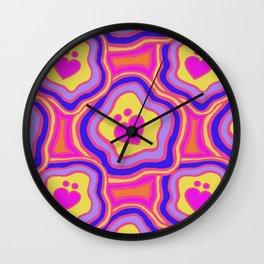 'I Love You Umlaut' Valentine's Pattern - Neon & Bright Wall Clock