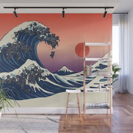 The Great Wave of Black Pug Wall Mural