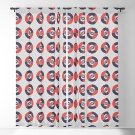 Simple geometric discs pattern red and silver Blackout Curtain