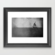 Ship puzzle bw Framed Art Print