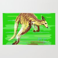 kangaroo Area & Throw Rugs featuring Kangaroo by wingnang