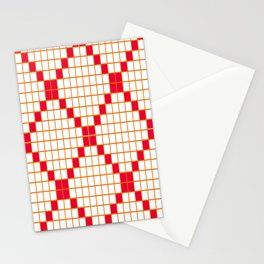White and Magenta Grid Crosstile Stationery Cards