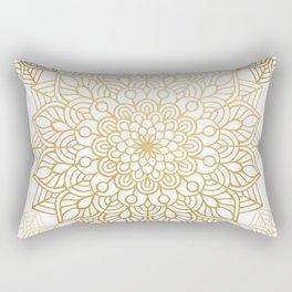 Beautiful White & Gold Mandala Pattern Rectangular Pillow