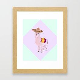 Cartoon Alpaca in Sombrero Framed Art Print