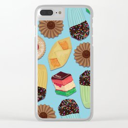 Assorted Cookies on Blue Background Clear iPhone Case