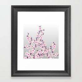 Cherry Blossoms Pink Gray Framed Art Print