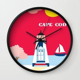 Cape Cod, Massachusetts - Skyline Illustration by Loose Petals Wall Clock
