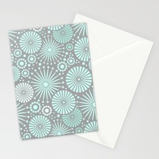 Mint and grey geometric flowers Stationery Cards