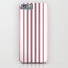 Mattress Ticking Wide Striped Pattern in USA Flag Red and White iPhone Case