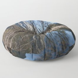 Mountain Reflection in the Merced River Floor Pillow