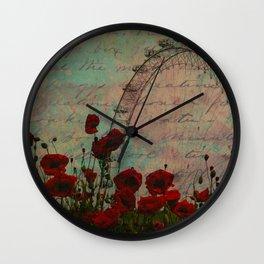 Poppies and Pink Skies Wall Clock