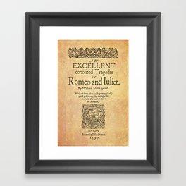 Shakespeare, Romeo and Juliet 1597 Framed Art Print