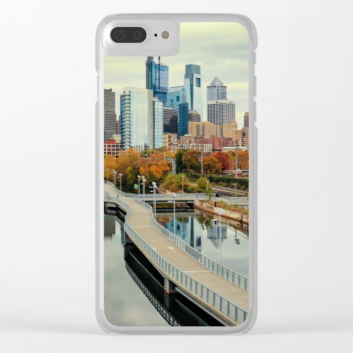 Philadelphia Fall Skyline Clear iPhone Case