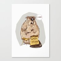 beaver Canvas Prints featuring Addicted Beaver by Maria Suckert