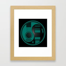 Teal Blue and Black Acoustic Electric Yin Yang Guitars Framed Art Print