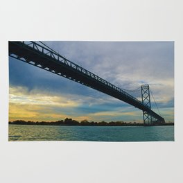 The Ambassador Bridge connects Detroit USA, & Windsor CA Rug
