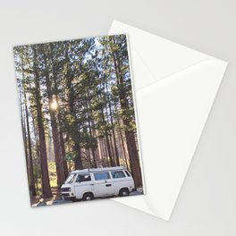 Retro Campervan in the Forest Stationery Cards