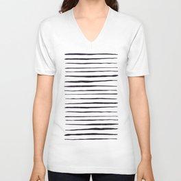 Black Ink Linear Experiment Unisex V-Neck