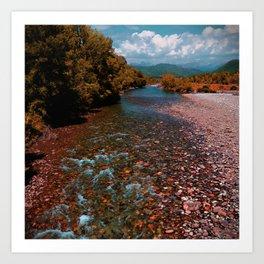 Autumn mountain river #photography #landscape Art Print
