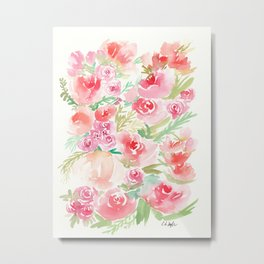Peaches and Pink Flowers Metal Print