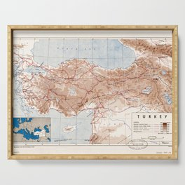 Map of Turkey (1949) Serving Tray