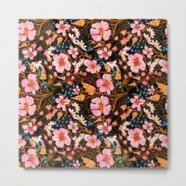 Springs flowers pattern in black background  Metal Print