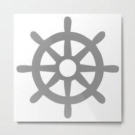 Steering Wheel Sail Boat Funny Metal Print