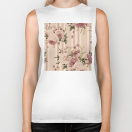 Flowers and Stripes Two Biker Tank