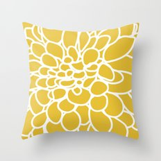 Mustard Yellow Modern Dahlia Flower Throw Pillow
