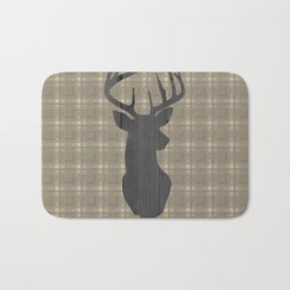 Country Farmhouse Rustic Decor, Plaid and Stag, Beige, Brown Bath Mat