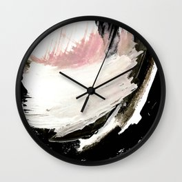 Crash: an abstract mixed media piece in black white and pink Wall Clock
