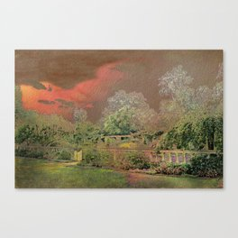 English Garden Sunset Canvas Print
