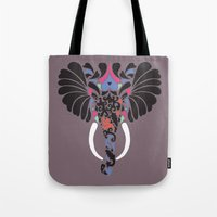 asian Tote Bags featuring Asian Elephant by Paula McGloin