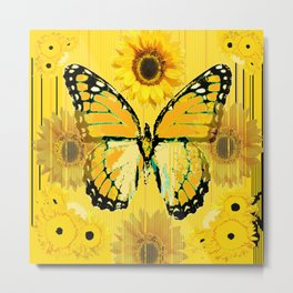ABSTRACT BUTTER COLORED YELLOW BUTTERFLY FLORA Metal Print