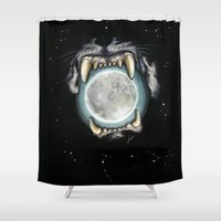 panther Shower Curtains featuring Moon Panther by lunaevayg